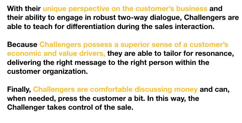 """Los seis atributos del vendedor """"Challenger"""" se condensan en tres aptitudes - Análisis del libro """"The Challenger Sale"""""""